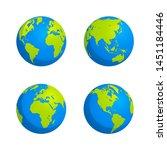 earth globe. world map set.... | Shutterstock .eps vector #1451184446