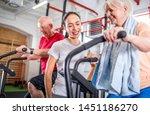 senior couple biking at the gym ...   Shutterstock . vector #1451186270