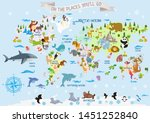world map with animals   oh the ... | Shutterstock . vector #1451252840