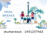 meal breaks for office workers... | Shutterstock .eps vector #1451257463