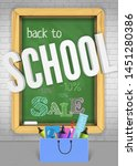 wooden chalk board welcomes... | Shutterstock .eps vector #1451280386