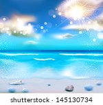 vector evening seascape with... | Shutterstock .eps vector #145130734