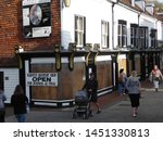 Small photo of Lewes, East Sussex/England - November 5 2018: Shops boarded up to protect them from the riotous Lewes Guy Fawkes Bonfire Night processions