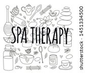 doodle set of spa black and... | Shutterstock .eps vector #1451334500