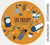 doodle set of spa elements ... | Shutterstock .eps vector #1451334506
