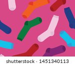 multi colored socks on a yellow ...   Shutterstock .eps vector #1451340113