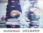 man with multi exposure global...   Shutterstock . vector #1451364929