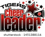 tigers cheerleader team design with megaphone and stars for school, college or league