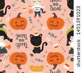 seamless pattern of halloween... | Shutterstock .eps vector #1451391023