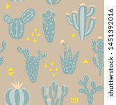 cartoon cactuses seamless... | Shutterstock .eps vector #1451392016
