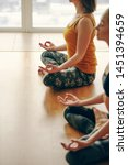 yoga instryctor doing yoga with ...   Shutterstock . vector #1451394659