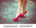 Woman Legs In Red High Heel...