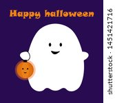 halloween card. ghost with...   Shutterstock .eps vector #1451421716