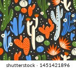 vector seamless pattern with... | Shutterstock .eps vector #1451421896