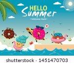 vintage summer poster design... | Shutterstock .eps vector #1451470703