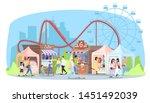 amusement park flat vector... | Shutterstock .eps vector #1451492039