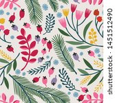 seamless vector floral pattern. ... | Shutterstock .eps vector #1451512490