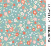 seamless vector floral pattern. ... | Shutterstock .eps vector #1451512499