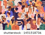 crowd of young and elderly men... | Shutterstock .eps vector #1451518736