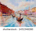 travel venice canal with... | Shutterstock . vector #1451548280