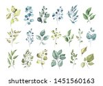 collection of watercolor... | Shutterstock . vector #1451560163