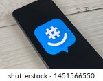 smartphone showing groupme... | Shutterstock . vector #1451566550