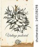 old vintage postcard. floral... | Shutterstock . vector #145158298