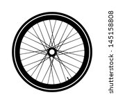 silhouette of a bicycle wheel.... | Shutterstock . vector #145158808