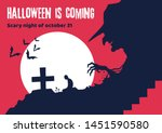scary halloween poster of the... | Shutterstock .eps vector #1451590580
