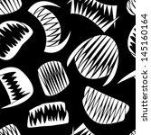white halloween teeth on black seamless pattern - stock vector