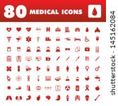 a set of eighty icons with... | Shutterstock .eps vector #145162084