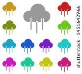 cloud rain multi color icon....