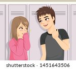 Stock vector young teenager happy boy talking to shy girl in front of school lockers 1451643506