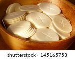 close up of communion wafers in ... | Shutterstock . vector #145165753