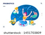 woman and probiotics products.... | Shutterstock .eps vector #1451703809