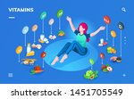woman and products for healthy... | Shutterstock .eps vector #1451705549