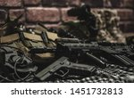 military equipman and weapons...   Shutterstock . vector #1451732813