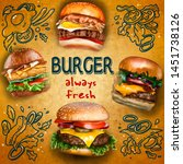 image for burgers advertising...   Shutterstock . vector #1451738126