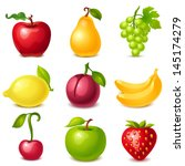 fruit set | Shutterstock .eps vector #145174279