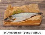 Stock photo salted herring over the wooden board with dill 1451748503