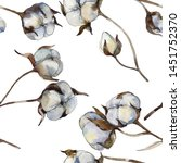 white cotton floral botanical...   Shutterstock . vector #1451752370