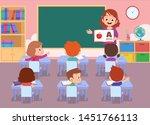 teacher with student vector...   Shutterstock .eps vector #1451766113
