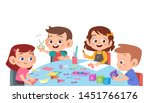 kids cutting color paper with... | Shutterstock .eps vector #1451766176