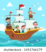 Group Of Cartoon Pirates On A...