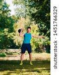 muscular man doing exercising...   Shutterstock . vector #1451766329