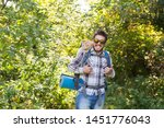 Stock photo adventures summer tourism and nature concept tourist arriving to a camping with his cat 1451776043