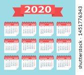2020 year calendar leaves flat...   Shutterstock .eps vector #1451776343