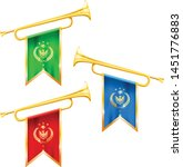 fanfare trumpets with flags ...   Shutterstock .eps vector #1451776883