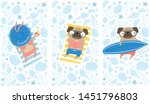 illustration with cute pug on... | Shutterstock .eps vector #1451796803
