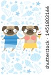 illustration with adorable pug... | Shutterstock .eps vector #1451803166